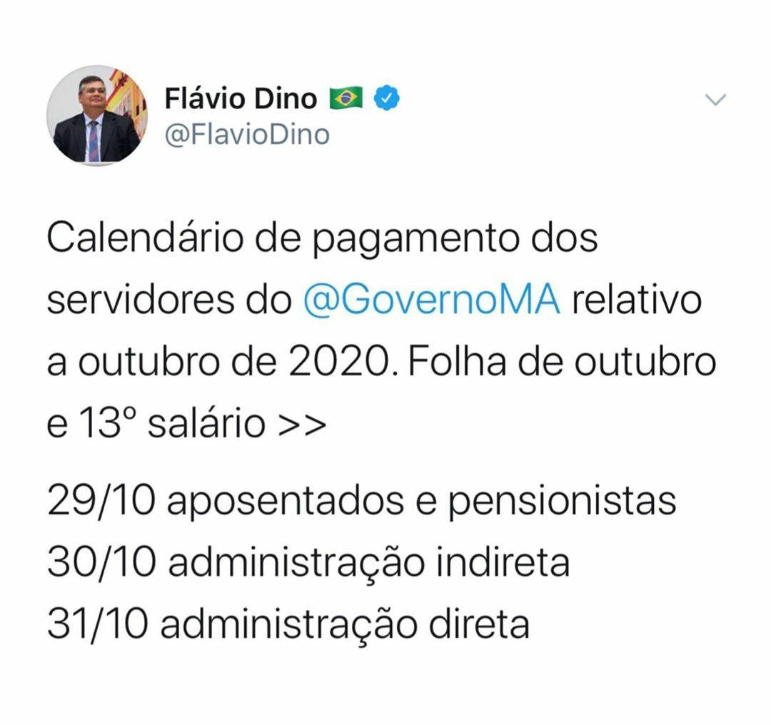 Flávio Dino anuncia calendário de pagamento do mês de outubro e 13º salário dos servidores